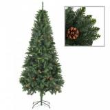 Brad de Crăciun artificial cu conuri de pin, verde, 210 cm