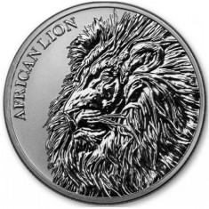 Moneda argint 999 lingou, African Lion 2018 Chad 1 uncie = 31 grame