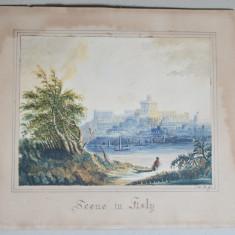Scena italiana acuarela veche
