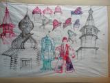 Desen de scenografie pentru teatru - bierici, Scene gen, Acuarela, Realism