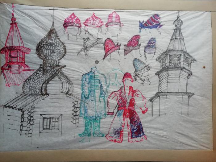 Desen de scenografie pentru teatru - bierici
