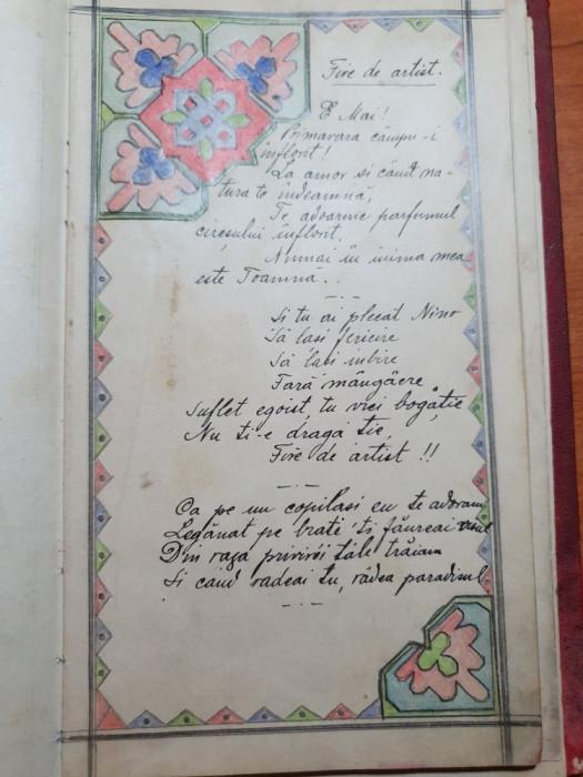 agenda ce a apartinut unui artist 1918 - picturi,poezii,desene,etc