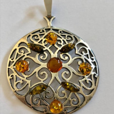 Argint MEDALION MARE CU CHIHLIMBAR 5 cm
