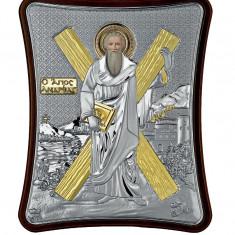 Icoana Argintata Sfantul Apostol Andrei Apostolul Romanilor 15x12.5cm Cod Produs 2712