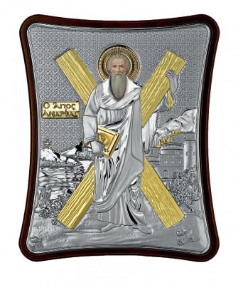 Icoana Argintata Sfantul Apostol Andrei Apostolul Romanilor 15x12.5cm Cod Produs 2712 foto