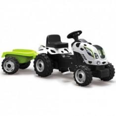 Tractor cu pedale si remorca Smoby Fun Farmer XL Alb