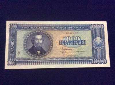 Bancnote România - 1000 lei 20 septembrie 1950 - seria 0350422 - UNC foto