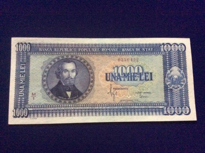 Bancnote România - 1000 lei 20 septembrie 1950 - seria 0350422 - UNC