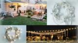 Cumpara ieftin Ghirlanda Luminoasa de Exterior cu Glob Policarbonat, Cablu Alb, Lungime 18 m cu 2Bec/m, Glob Transparent.