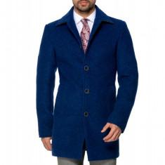 Palton Barbati Albastru Office Lung din Lana Cotta B161 Blu