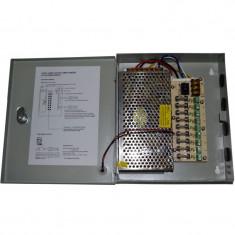 Sursa alimentare in cutie metalica 10A 12V cu 9 iesiri partajate foto