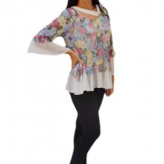 Bluza lejera de culoare multicolor cu maneca usor evazata