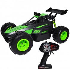 Masinuta cu telecomanda, acumulator reincarcabil si roti din cauciuc Buggy Slayer 28x18,5x15,5 cm Verde