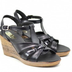 Sandale dama din piele naturala cu platforma - S15ELYN, 35 - 40, Bej, Negru