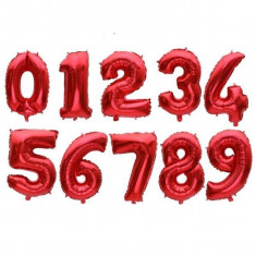 Baloane din folie aluminiu, cifre rosii, 46 cm