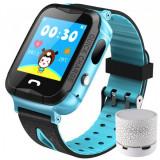Ceas GPS Copii iUni Kid6, Touchscreen, BT, Camera 2MP, Buton SOS, Rezistent la apa, Albastru + Boxa Cadou