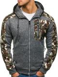 Cumpara ieftin Bluză pentru bărbat cu glugă și fermoar camuflaj-grafit Bolf HH508