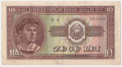 ROMANIA 10 LEI 1952 XF SERIE 1 CIFRA foto