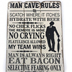 Tablou motivational MAN CAVE RULES 20 x 28 cm