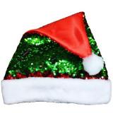 Caciula Mos Craciun, paiete reversibile rosii si verzi, material textil, marime universala