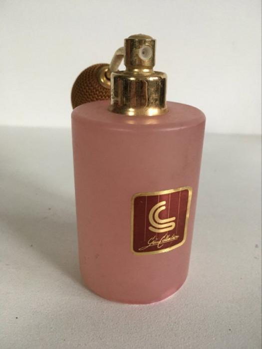 Sticla pentru parfum vintage veche cu pulverizator, reincarcabil, de marmura roz