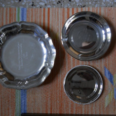 Lot trei vase ovale,metal argintat BSF,diam.24, 18 si 14,5cm.