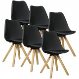Set Viva 6 scaune bucatarie, 85 x 48 cm, plastic/lemn, negru