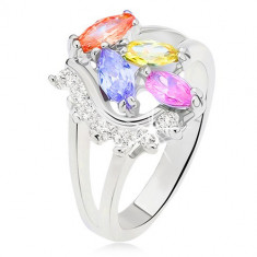 Inel cu braţe bifurcate, ştrasuri colorate, în formă de bob, linie convexă cu ştrasuri transparente - Marime inel: 58