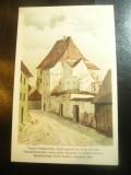 Ilustrata Sighisoara veche- Turnul Bugnarilor -dupa acuarela Betty Schuller, Necirculata, Printata
