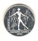 SV * Seychelles  25  RUPEES  1993  UNCIE ARGINT  *  JO 1992 GIMNASTICA  *  AUNC+