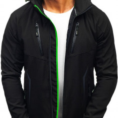 Geacă de tranziție softshell neagră-verde Bolf 5612
