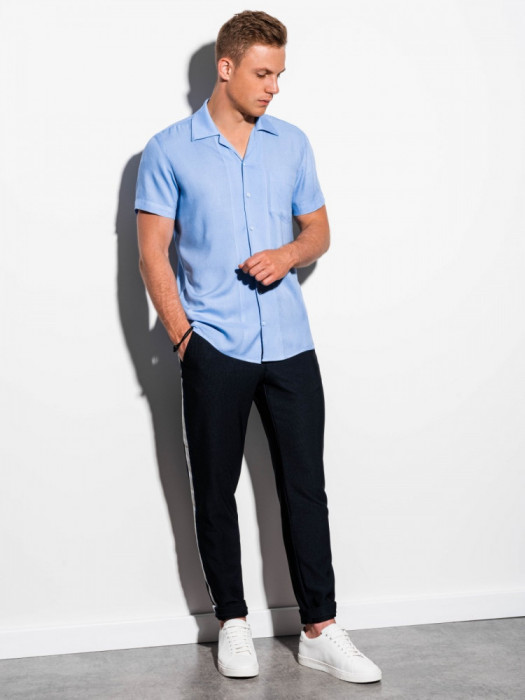 Camasa premium cu maneca scurta K561 - albastru-deschis