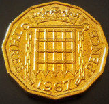 Moneda 3 (Three) PENCE - ANGLIA, anul 1967  *cod 396 - UNC