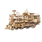 Puzzle mecanic 3D Locomotiva cu aburi UGEARS, peste 14 ani, Lemn
