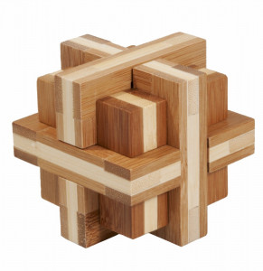 Joc logic IQ din lemn bambus Double cross