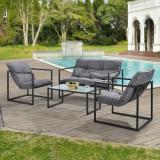 Set mobilier gradina Dallas, masa 40 x 91 x 50 cm, banca 65 x 125 x 75 cm, fotoliu 65 x 64 x 75cm, otel/textil, negru/gri