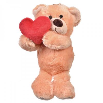 Ursulet Maro cu Inimioara Rosie in Mana - 30 cm foto