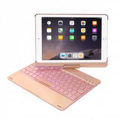 Husa carcasa cu tastatura LED Bluetooth Wireless pentru iPad Air / iPad Air 2 / Ipad Pro 9.7/ iPad 9.7 2017 / 2018 din aliaj aluminiu, rose gold