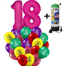 "Pachet majorat baloane ""18"", 2 folii fuchsia +30 latex +1 butelie heliu-2018124"