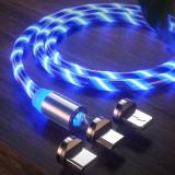 [Indika]Cablu Magnetic cu LED 3in1 Type C/Micro USB/Lightning 1M-Blue