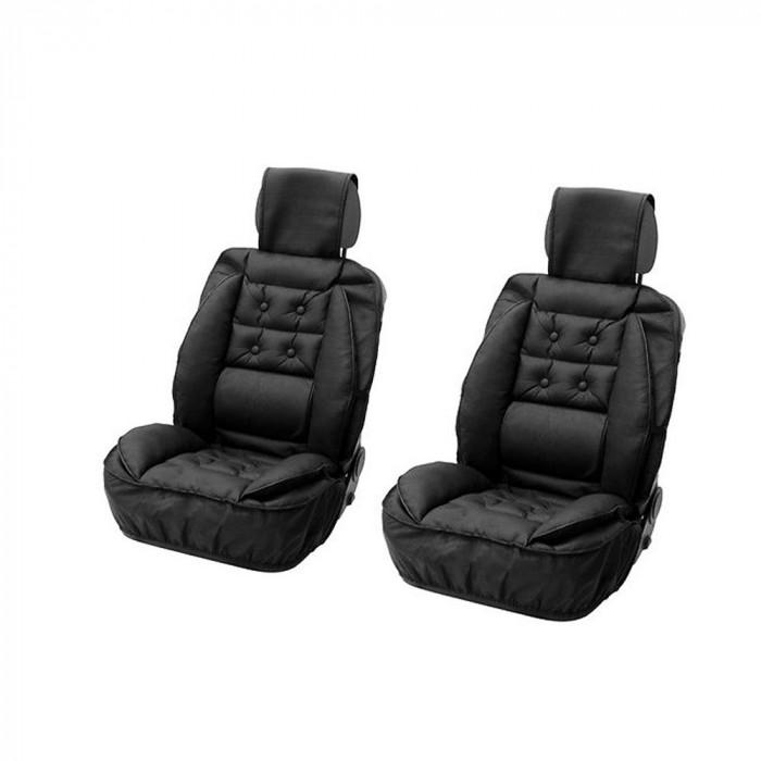 Set huse scaune fata pentru Vw Caddy, imitatie piele, cu suport lombar, set 2 buc