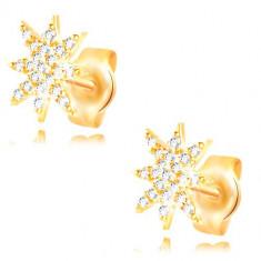 Cercei din aur de 14K - stea strălucitoare decorată cu zirconii transparente