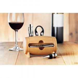Set pentru vin in stativ lemn, otel inoxidabil, Everestus, AV10, natur, saculet de calatorie inclus