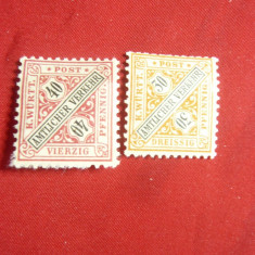 2 Timbre Taxe Cifre 1896-1902-Wurtemberg 30pf si 40pf ,sarniera, Nestampilat