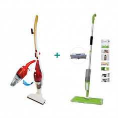Pachet de curățenie confort, Aspirator electric 2 în 1 cu filtru HEPA + Mop cu pulverizator