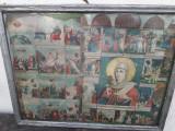 2 icoane romaneasca Crezul si ruseasca Sf Muc Parascheva litografie color veche