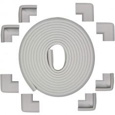 Set rola protectie multifunctionala XXL de 6m si 8 aparatori moi pentru colturi Bambinice BN008 gri