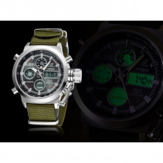 Superb Ceas Militar/Sport,Dual Display,Rezistent Apa,Timer,Alarma,Tahimetru, Quartz, Inox