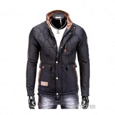 Jacheta pentru barbati, negru, cu guler, slim fit, pe corp, buzunare laterale - C125