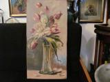 """Cumpara ieftin CY - Tablou foarte vechi """"Vaza cu Lalele"""" u / p nesemnat panza cu 3 defecte"""